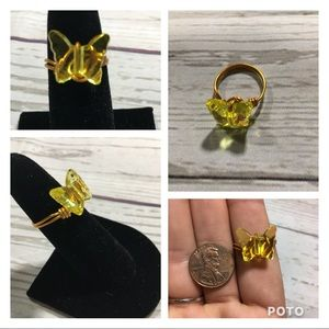 Yellow butterfly on gold wire handmade ring size 7